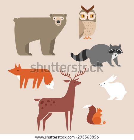 Cute forest animals vector set include bear, owl, fox, raccoon, deer, rabbit and squirrel. forest animals icons set vector illustration. - stock vector