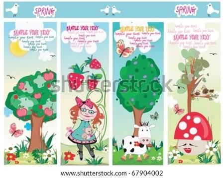 Cute four Spring Summer cards. - stock vector