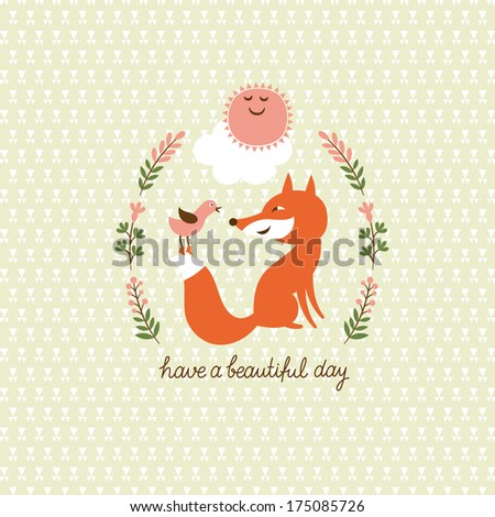 Cute fox and a bird, vector illustration  - stock vector
