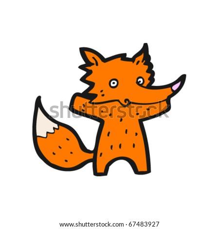 cute fox cartoon - stock vector