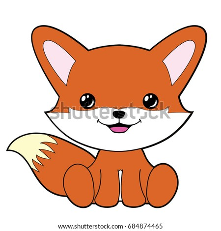 cute fox clipart coloring activity vector stock vector 684874465 rh shutterstock com fox clipart outline fox clipart images