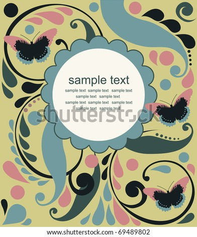 cute frame design for greeting card. vector illustration - stock vector