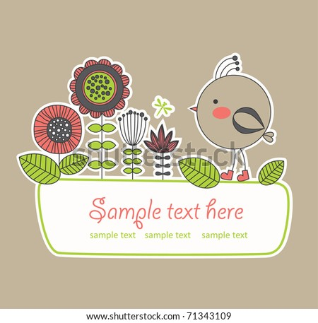 cute frame design for greeting card. vector illustration