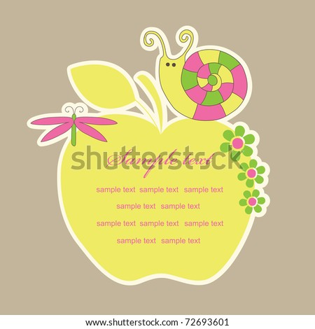 cute frame design with snail. vector illustration