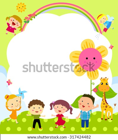 Cute frame with kids - stock vector