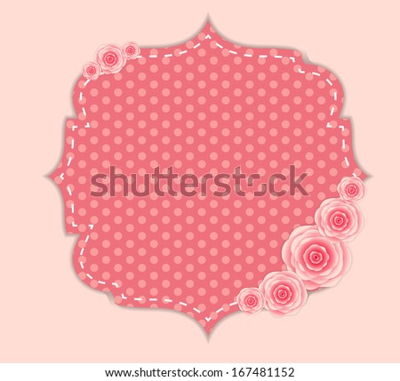 Cute Frame with Rose Flowers  Vector Illustration - stock vector