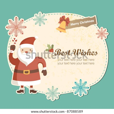 Cute Frame with Santa Claus. Christmas Greeting Card Design. - stock vector