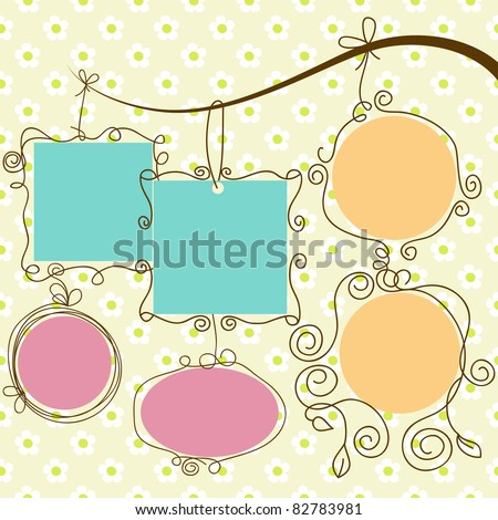 Cute frames hanging, retro style - stock vector