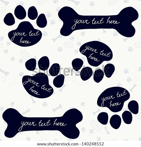 Cute frames in shape of dog's paw print and bone. Vector illustration. - stock vector