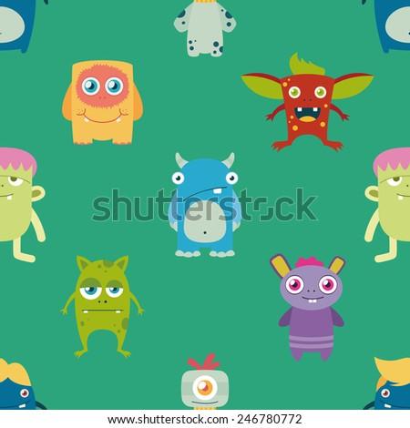 cute freaky monsters seamless pattern - stock vector