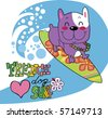 Cute french bulldog happy surfing ocean wave on surfboard with flower garland - stock vector