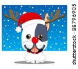 Cute french bulldog with red nose reindeer costume and Santa Claus hat - stock vector