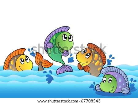 Cute freshwater fishes in river - vector illustration. - stock vector