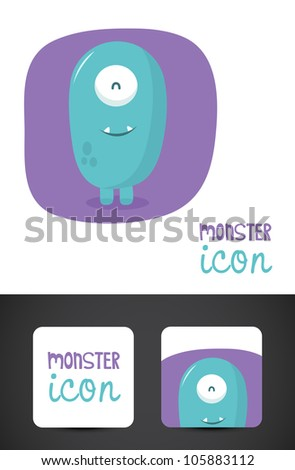 Cute, friendly monster icon such logo and stylized business cards, EPS10 vector. - stock vector