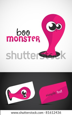 Cute, friendly monster icon such logo & stylized business cards, EPS10 vector, - stock vector