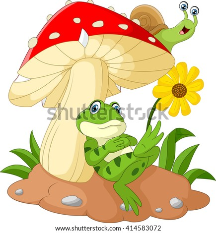 Cute frog and snail cartoon with mushroom - stock vector