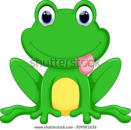 Cute frog cartoon - stock vector