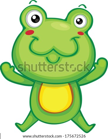 cute frog jumping vector - stock vector