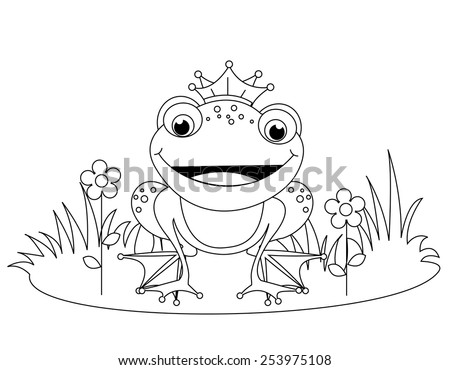 cute frog prince coloring book page for kindergarten kids