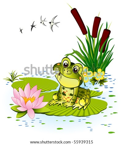 Cute frog with mosquito - stock vector