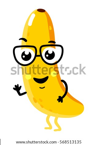 Cute Fruit Banana Cartoon Character Isolated On White Background Vector Il Ration Funny Positive And Friendly
