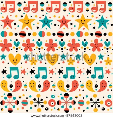 cute fun pattern - stock vector