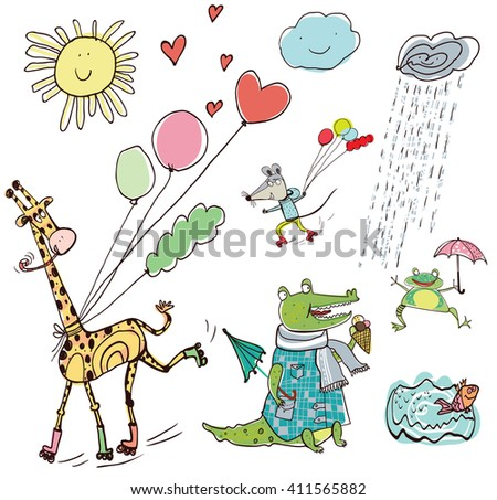 Cute Funny Animals. Good for posters, stickers, cards, notebooks and other kids games and accessories. The crocodile and the frog in the rain, a mouse and a giraffe on roller skates with balloons.