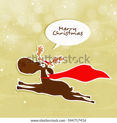 Cute funny Reindeer running on shiny background for Merry Christmas celebration. - stock vector