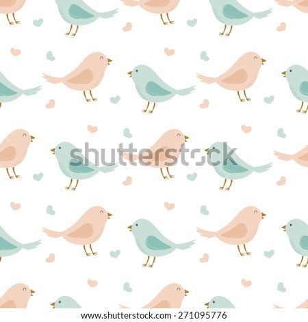Cute funny romantic seamless pattern with lovely cartoon birds and hearts. Best for textures, wallpaper or scrapbooking. Childish vector illustration.  - stock vector
