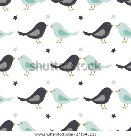 Cute funny romantic seamless pattern with lovely cartoon birds and stars. Best for textures, wallpaper or scrapbooking. Childish vector illustration. - stock vector