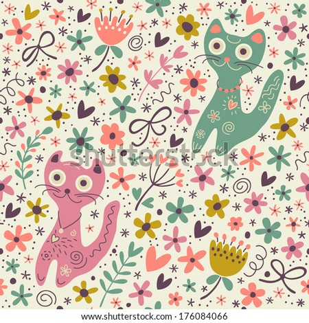 Cute funny seamless pattern with cats and flowers.
