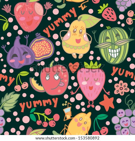 Cute Funny vector Fruit seamless pattern.