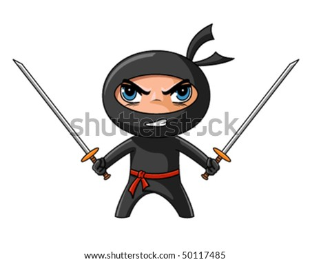 Cute furious ninja with katana ready to attack - stock vector