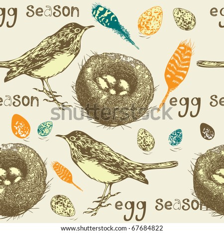 cute garden bird with eggs - stock vector