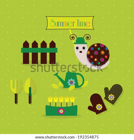 Cute Gardening Tools And A Snail   Includes Patterns
