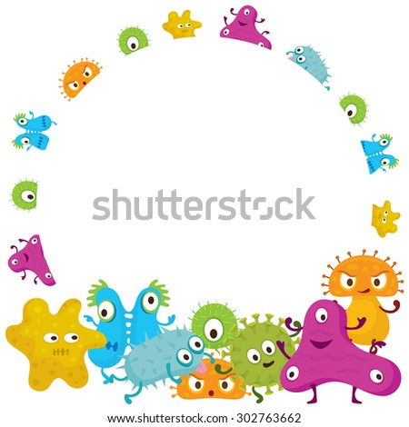 Cute Germ Characters Frame and Border, Bacteria, Virus, Microbe, Pathogen  - stock vector