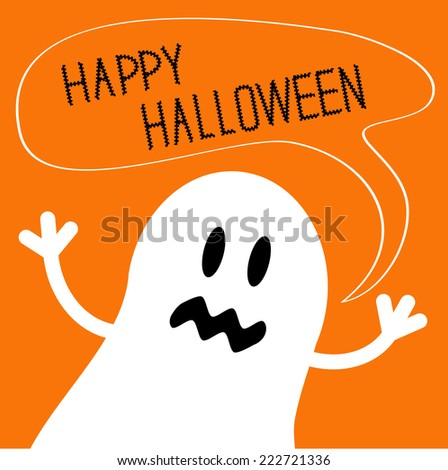 Cute ghost monster with speech text bubble. Happy Halloween card. Flat design. Vector illustration - stock vector