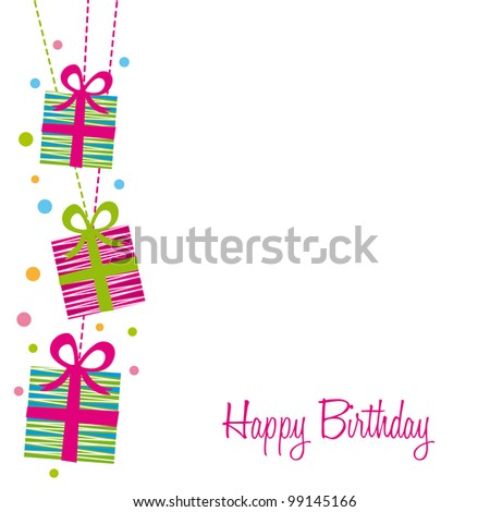 cute gifts over white background, birthday. vector illustration - stock vector