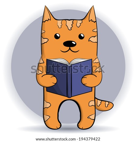 Cute ginger reading cat 2. Vector illustration. - stock vector