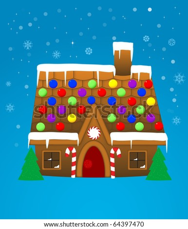 Cute gingerbread house (eps10 vector) - stock vector