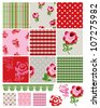 Cute Gingham Rose Vector Patchwork Patterns.  Use to create quilting pieces or digital paper or wallpaper etc the list goes on. - stock vector