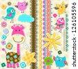 cute giraffe and birds scrapbook elements - stock vector