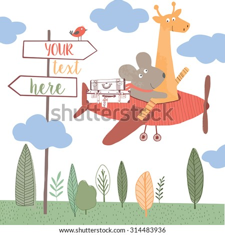 Cute giraffe and mouse go to traveling in plane. Kids background. Summertime concept card. Travel concept background. - stock vector