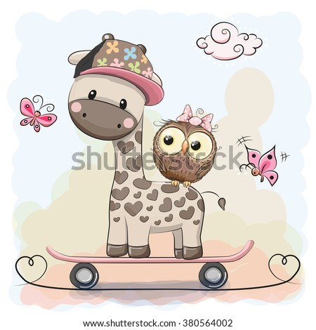 Cute Giraffe and owl on a skateboard - stock vector