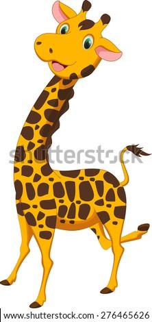 cute giraffe cartoon - stock vector
