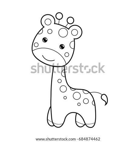 cute giraffe clipart coloring activity vector stock vector 2018 rh shutterstock com Cute Snake Clip Art Cute Monkey Clip Art