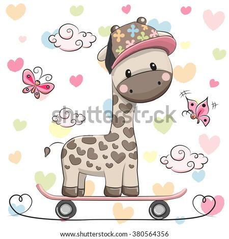 Cute Giraffe wih a cap on a skateboard and butterflies - stock vector