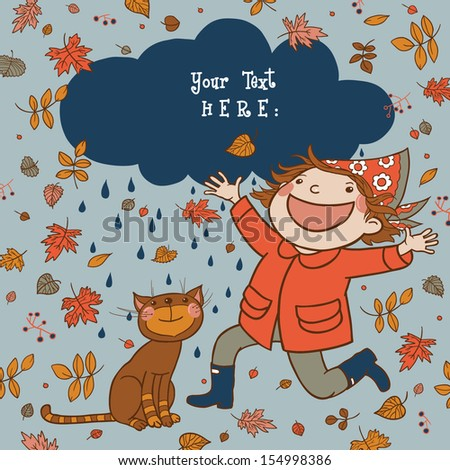 Cute Girl and cat celebrating Autumn Season.Floral background, greeting card. Template design can be used for packaging, invitations,Birthday decoration,bag template, print for mag cup and etc. - stock vector