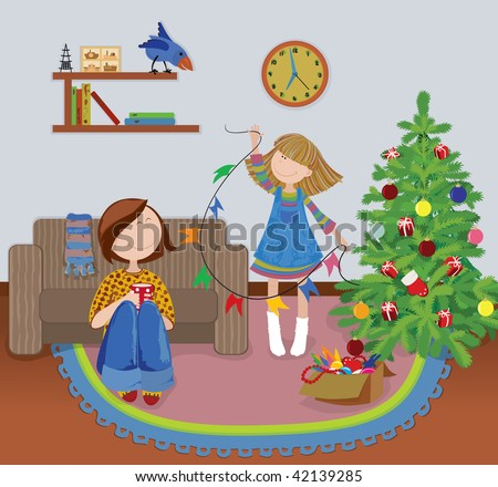 Cute girl and her mother decorating their Christmas Tree. - stock vector