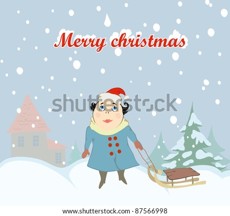 cute girl  and snowflake. christmas background - stock vector